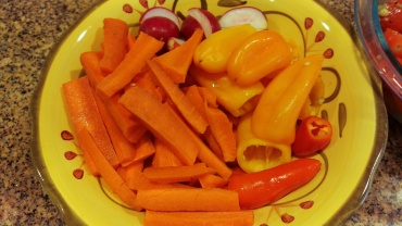 chopped carrots, peppers and radish