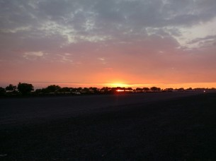 Sunset over Old Kona Airport recreational grounds; old runway