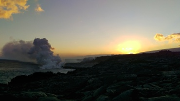Kilauea volcano eruption meets the sea by Kalapana