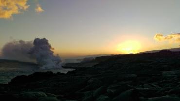 Kilauea volcano eruption meets the sea by Kalapana